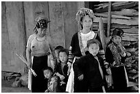 Hmong family near Lai Chau. Northwest Vietnam (black and white)