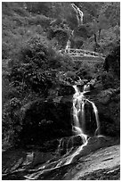 Silver Falls and bridge near Sapa. Sapa, Vietnam (black and white)