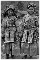 Two Flower Hmong girls. Vietnam (black and white)