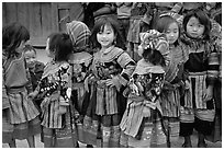 Flower Hmong schoolchildren. Bac Ha, Vietnam (black and white)