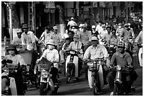 Dense two-wheel traffic. Ho Chi Minh City, Vietnam (black and white)