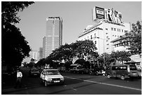 Renovated city boulevards. Ho Chi Minh City, Vietnam (black and white)