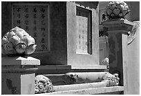 Architectural detail at the Lady Chua Xu temple. Chau Doc, Vietnam (black and white)