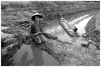Mechanized irrigation. Mekong Delta, Vietnam (black and white)