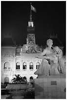City townhall and Ho Chi Minh sculpture. Ho Chi Minh City, Vietnam ( black and white)