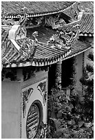 Roofs detail of one of the sanctuaries on the Marble Mountains. Da Nang, Vietnam (black and white)