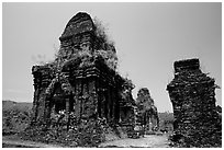 Ruined Champa towers. My Son, Vietnam (black and white)