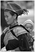Young Flower Hmong woman and baby. Bac Ha, Vietnam (black and white)