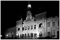 The old Hotel de Ville, one of finest examples of French colonial architecture. Ho Chi Minh City, Vietnam (black and white)