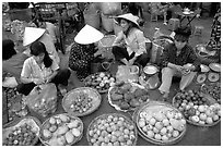 A variety of tropical fruit for sale. Ho Chi Minh City, Vietnam (black and white)