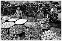 Vegetables and spices. Cholon, Ho Chi Minh City, Vietnam (black and white)