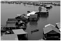 Floating houses, Lake Langa. Vietnam ( black and white)