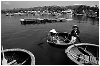 Circular basket boats, typical of the central coast, Nha Trang. Vietnam (black and white)