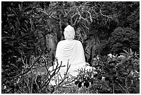 Buddha statue in the Marble mountains. Da Nang, Vietnam (black and white)
