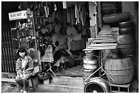Traditional musical instruments for sale, old quarter. Hanoi, Vietnam (black and white)
