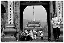 One of the numerous sanctuaries on the trail. Perfume Pagoda, Vietnam (black and white)