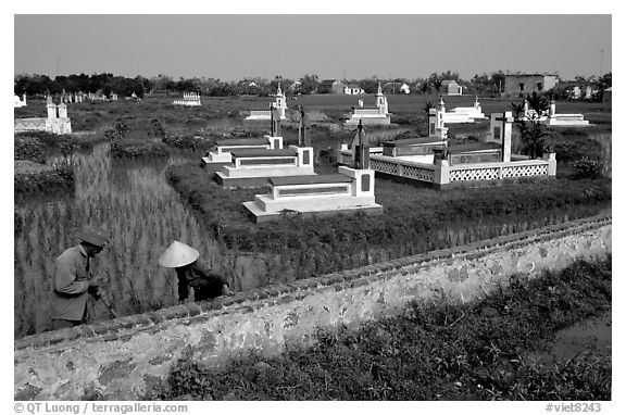 Catholic tombs set in rice field. Ninh Binh,  Vietnam (black and white)