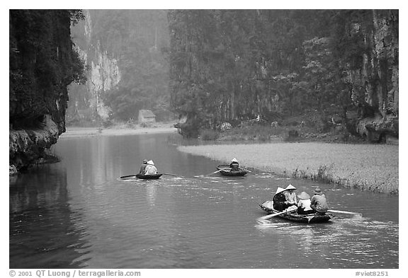 Villagers go to work floating a shallow river in Tam Coc. Ninh Binh,  Vietnam (black and white)
