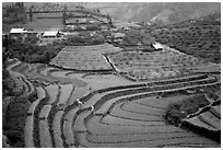 Dry terraced hills and village. Bac Ha, Vietnam (black and white)