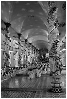 Interior of the Great Caodai Temple. Tay Ninh, Vietnam (black and white)