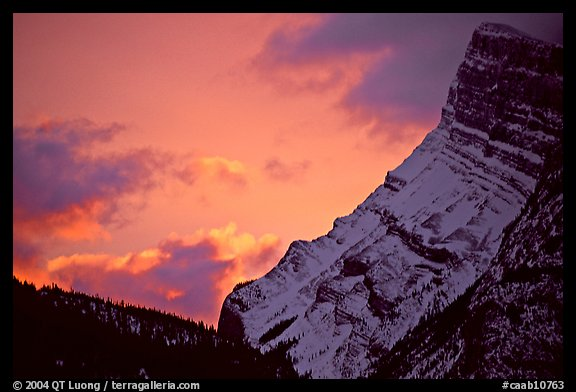 Sunrise and craggy mountain. Banff National Park, Canadian Rockies, Alberta, Canada