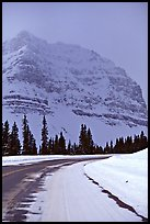Icefields Parkway partly covered by snow. Banff National Park, Canadian Rockies, Alberta, Canada (color)