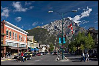 Banff Avenue and Cascade Mountain, mid-morning. Banff National Park, Canadian Rockies, Alberta, Canada