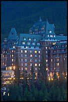 Banff Springs Hotel at dusk. Banff National Park, Canadian Rockies, Alberta, Canada (color)
