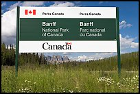 Bilingual sign at the entrance of the Park. Banff National Park, Canadian Rockies, Alberta, Canada ( color)