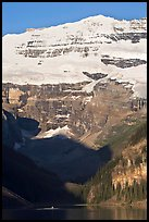 Victoria peak and glacier above Lake Louise, early morning. Banff National Park, Canadian Rockies, Alberta, Canada (color)