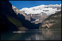 Rower, Lake Louise, and Victoria Peak, early morning. Banff National Park, Canadian Rockies, Alberta, Canada (color)