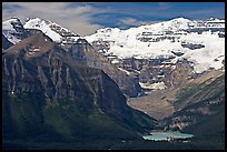 Distant view of Lake Louise and  Victoria Peak. Banff National Park, Canadian Rockies, Alberta, Canada