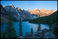 Wenkchemna Peaks above Moraine Lake, sunrise. Banff National Park, Canadian Rockies, Alberta, Canada