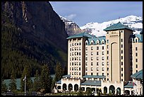 Chateau Lake Louise, with Victoria Peak in the background. Banff National Park, Canadian Rockies, Alberta, Canada