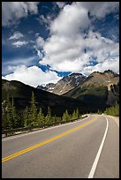 Curved Highway, Icefields Parway. Jasper National Park, Canadian Rockies, Alberta, Canada (color)