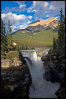 Athabasca Falls and Mt Kerkeslin, late afternoon. Jasper National Park, Canadian Rockies, Alberta, Canada (color)