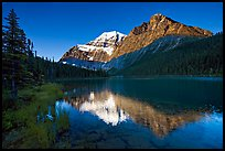 Cavell Lake and Mt Edith Cavell, early morning. Jasper National Park, Canadian Rockies, Alberta, Canada