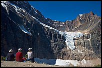 Hikers looking at Angel Glacier and Cavell Glacier. Jasper National Park, Canadian Rockies, Alberta, Canada ( color)