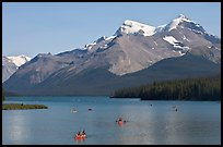 Canoes on Maligne Lake, afternoon. Jasper National Park, Canadian Rockies, Alberta, Canada (color)