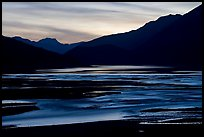 Flood plain of Medicine Lake, sunset. Jasper National Park, Canadian Rockies, Alberta, Canada (color)