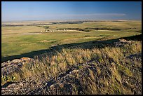 Plain seen from the top of the cliff, late afternoon, Head-Smashed-In Buffalo Jump. Alberta, Canada