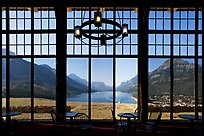 View over Waterton Lake through the windows of Prince of Wales hotel, morning. Waterton Lakes National Park, Alberta, Canada ( color)