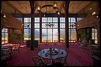 Table with view in lobby of Prince of Wales hotel. Waterton Lakes National Park, Alberta, Canada ( color)