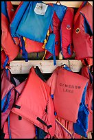 Lifevests in Cameron Lake boathouse. Waterton Lakes National Park, Alberta, Canada (color)
