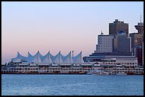 Canada Place and skyline at dusk. Vancouver, British Columbia, Canada