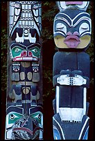 Two Totem sections, Stanley Park. Vancouver, British Columbia, Canada