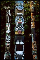Three totems, Stanley Park. Vancouver, British Columbia, Canada (color)