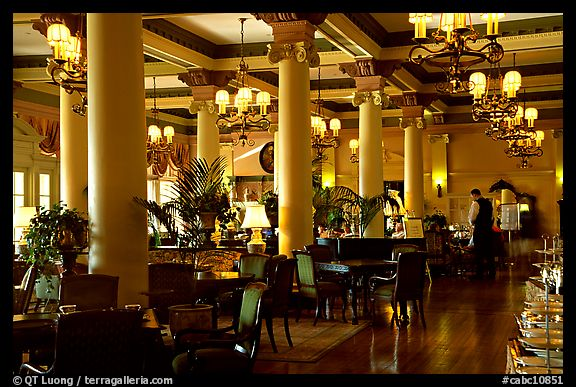 Dining hall of Empress hotel. Victoria, British Columbia, Canada (color)