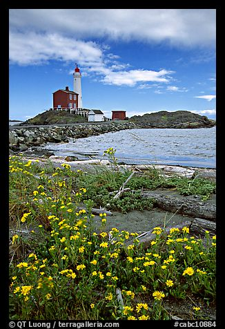 Flowers and Fisgard Lighthouse. Victoria, British Columbia, Canada
