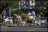 Horse carriagess on the street. Victoria, British Columbia, Canada (color)